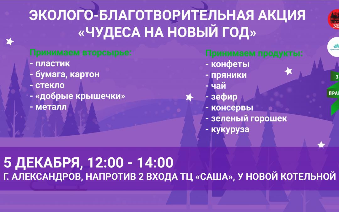 Эколого-благотворительная акция «Чудеса на новый год» пройдет 5 декабря в Александрове