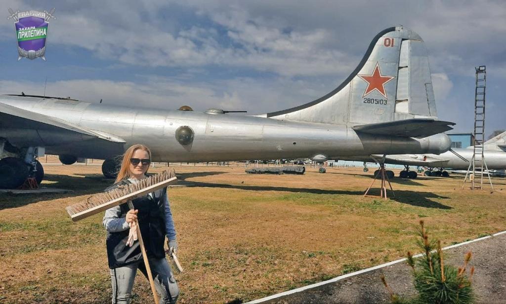 Субботник Гвардии Захара Прилепина в Центральном музее ВВС 3